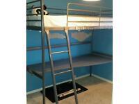 Ikea high sleeper bed with desk underneath