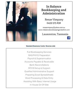 In Balance Bookkeeping and Administration Launceston Launceston Area Preview