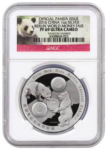 2016 China 1 oz Proof Silver Panda Berlin World Fair NGC PF69 Ultra Cameo Excl