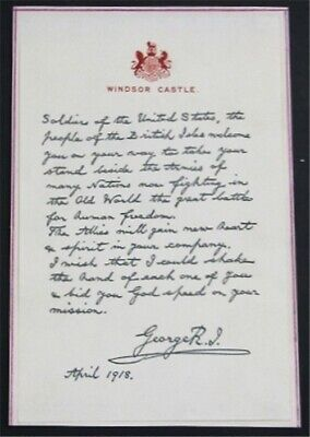 nystamps Great Britain Facsimile Letter, From King George To US Army  L16x3302