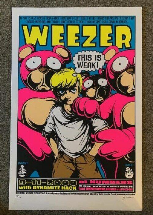Weezer Concert Poster 2000 Houston Jermaine Rogers