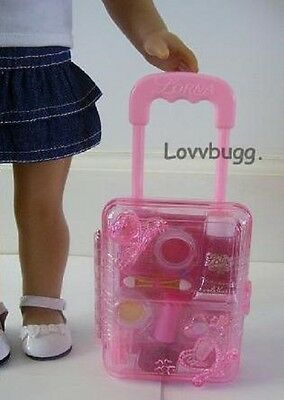 "Lovvbugg Pink Rolling Doll Suitcase for 18"" American Girl Doll Accessory"