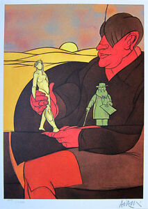 VALERIO ADAMI - 1984 Hand Signed and Numbered Color Lithograph - Statuette