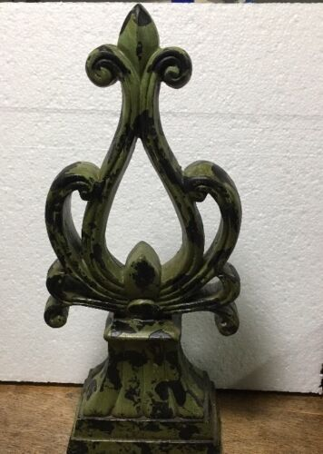 Ceramic Architectural Accent Decorative Piece  Finial distressed green black