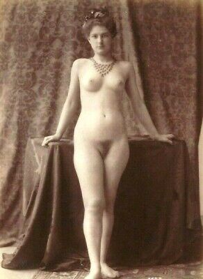 Beautiful Nude in Necklace~Antique 1890s Albumen Photograph~French Artist Model