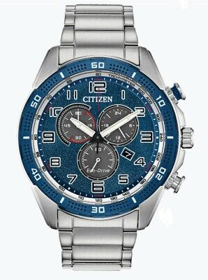 Citizen Eco-Drive Men's Chronograph Blue Dial Date Display 45mm Watch AT2440-51L