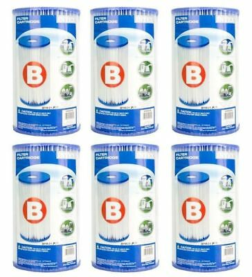 Intex Swimming Pool Type B Filter Cartridge 29005E Case of 6 Filters