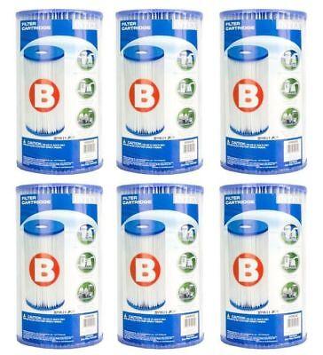 Intex Swimming Pool Type B Filter Cartridge 29005E Case of 6 Filters