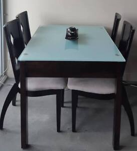 Extendable Glass Dining Table with 4 Hardwood Chairs