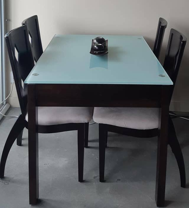 Extendable Glass Dining Table with 4 Hardwood Chairs | Dining Tables ...