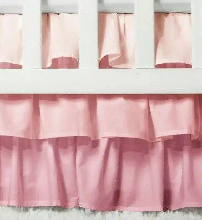 "Circo PINK Ruffled 3 Tiered Crib Bedskirt Dust Ruffle 14"" Drop NEW"