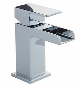 Waterfall Basin Sink Tap WOW Square Mixer Chrome Mono  Luxury Bathroom Cloakroom