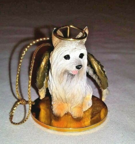 SILKY TERRIER Dog ANGEL Tree Ornament Figurine Tiny One Dog Statue Vintage 1995