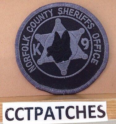 NORFOLK, MASSACHUSETTS SHERIFF SUBDUED K-9 UNIT (POLICE) SHOULDER PATCH MA