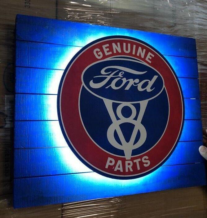 Ford Genuine Parts  Led Backlit Metal Vintage Sign Screenprinted 18x15x12 DECOR