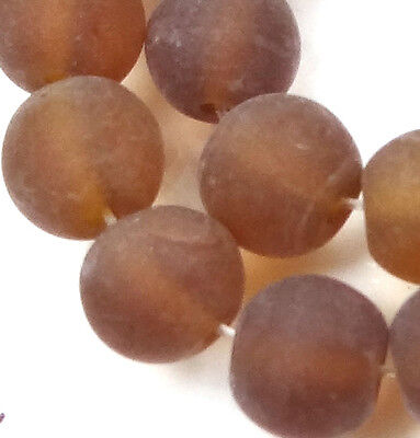 25 Frosted Sea Glass Round Beads 8mm Matte - Smoky Topaz