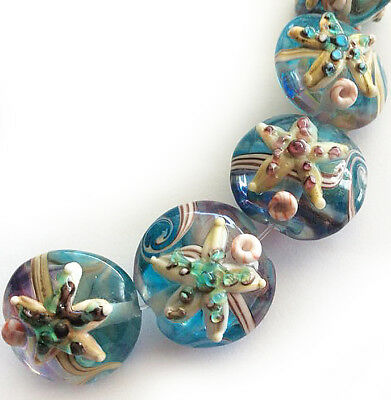 Handmade Lampwork Glass Lentil Bead Starfish Blue Sea Shell 15mm 4 beads  -