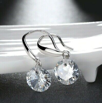925 Sterling Silver Drop Earrings (925 Sterling Silver Dangle Drop Earrings made with 2ct Swarovski Crystal)