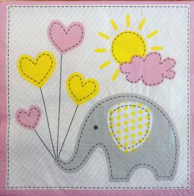 20 x Paper Napkins Elephant Patchwork Pink Table Party and Decoupage 128