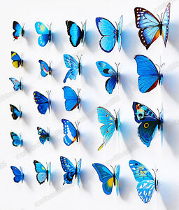 3D Butterfly Wall Decal Vivid Artificial Magnet Sticker Home Wedding Shop Decor