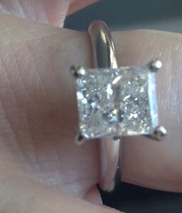 14K White Gold Solitare Princess Cut 1.55ct Engagement Ring
