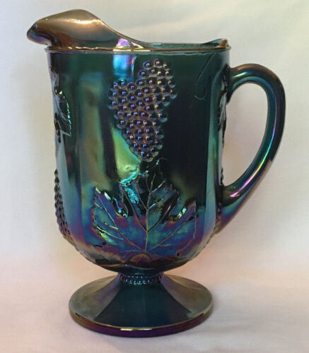 Colony Carnival Glass Pitcher Paneled Grape Harvest Blue Opalescent Footed 64 Oz
