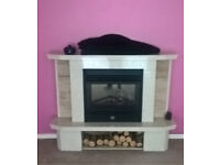 White and Beige Marble Fireplace with Limoges Electric Fire