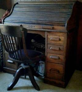 Victorian Roll-top Desk and Swivel Chair North Beach Stirling Area Preview