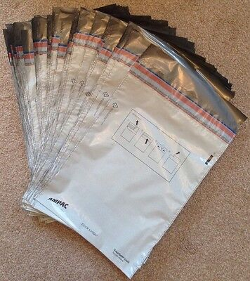 X100 KeepSafe Security Grey Plastic Mailing Bags Passport Tickets High Value £ €