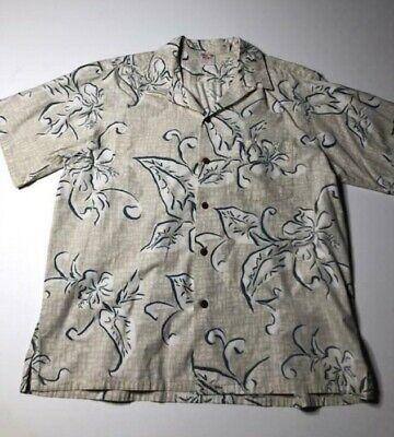 Barefoot In Paradise Hawaiian Aloha Shirt Cream & Blue Palm Print Men Size XL