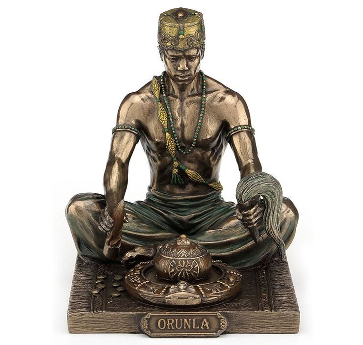 """5.5"""" Statue Orisha Orunla Orula Seven African Powers Santeria Yoruba"""