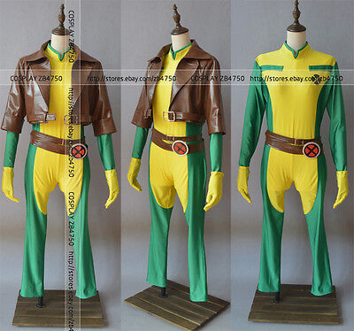 X-men Rogue Brown leather Jacket Cosplay Costume Full set Any - Rogue Xmen Jacket