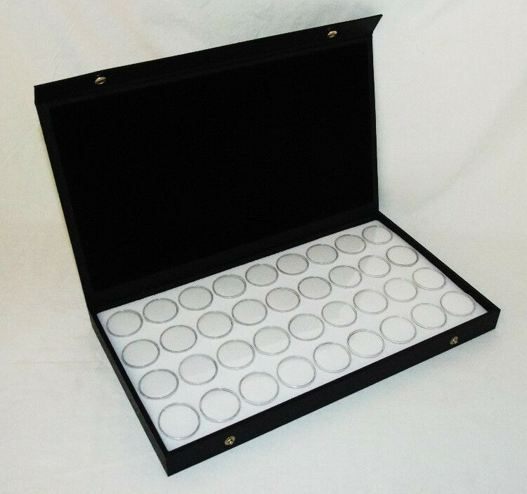 TEXTURED SOLID TOP DISPLAY WITH 36 MEDIUM SIZED GEM JARS WHITE