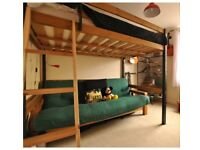 Double Bed - High Sleeper Wooden Frame (Mattress not included)