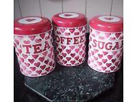 Tea sugar coffee tins by Emma bridge water