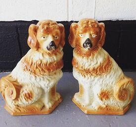 Gorgeous Pair of Victorian Ceramic Wally Dugs