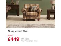 3 seater sofa with accent chair & footstool