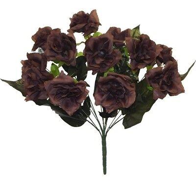 12 Open Roses CHOCOLATE BROWN Long Stem Silk Centerpiece Flowers Wedding Bouquet