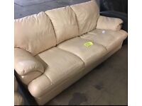 3 seater large leather sofa