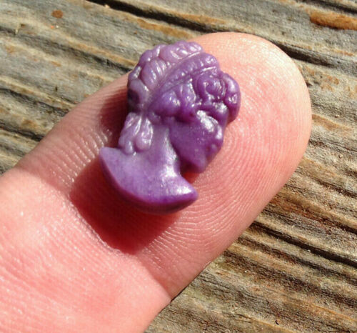 Carved Sugilite Cameo Small Victorian Style Female Bust Cameo