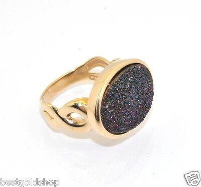 Technibond Purple Drusy Gemstone Ring 14k Yellow Gold Clad 925 Silver 6.10gr