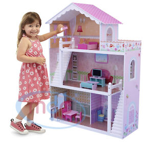 Mcc Wooden Kids Doll House With Furniture Staircase Fits Barbie Dollhouse Ebay