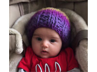 Exclusive and unique hand knitted baby hat merino wool 0-6 m