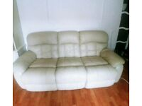 Cream leather recliner sofa (3 + 2 seater)