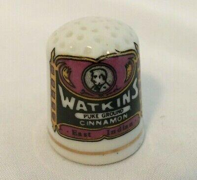 Vintage WATKINS Pure Ground Cinnamon Porcelain Advertising Sewing Thimble