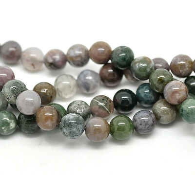 Agate Gemstone Round 8mm Beads One Strand 38cm Long Approx 45 Beads J18913XB