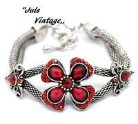 Bracciale Vintage Anni30,rubini,lucite Rossa, Lega Argento-brunito:bellissimo -  - ebay.it