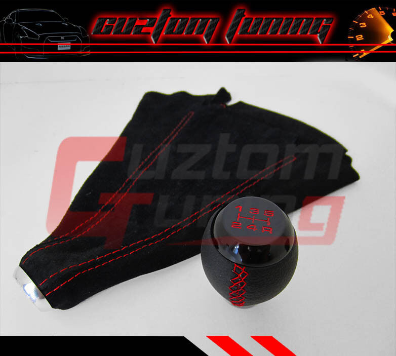 Jdm Mazda Mx5 Leather Stitching Shift Knob Red 5speed Suede Boot Combo