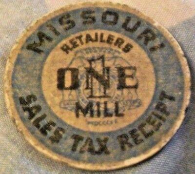 MISSOURI SALES TAX RECEIPT RETAILERS ONE (1) MILL FIBER STATE OF MISSOURI TAX TO