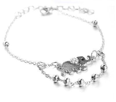Silver Elephant Ankle Chain Anklet Bracelet Foot Sandal Barefoot Beach Gift AG
